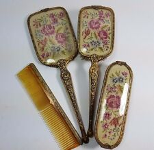 VINTAGE PETIT POINT EMBROIDERY HAIR CLOTHES BRUSH MIRROR COMB VANITY SET