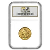 $5 Liberty Gold Half Eagle MS-61 NGC - SKU #23204