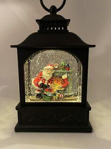 Christmas Musical Snow Globe LED Lighted Lantern Santa Fireplace Holiday Decor