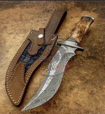 Handmade Rare  custom damascus KNIFE WITH Real Colour Camel Bone 13 Inches