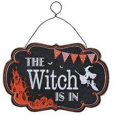 "Halloween Chalkboard Style ""The Witch Is In"" Hanging Sign - Jack-O-Lanterns"