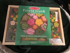 BRAND NEW! Melissa & Doug Flower Power Wooden Bead Set 120 Beads 5 Cords Girl