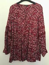 Belle Curve TARGET Dark Red Floral Shirt Ladies Size 26 Peasant Blouse Top