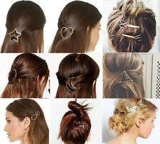2pcs Women 8 Styles Hollow Out Geometry Triangle Hair Clip Hairpin Snap Barrette