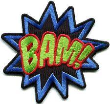 BAM! superhero comics retro fun Biker Embroidered Iron On/Sew On Patch
