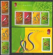Hong Kong 2001 Year of the Snake set of 4 + 2 M/S MNH