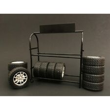 Metal Tire Rack With Tires and Rims for 1 18 Diecast Models by American Diorama