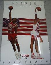 Vtg 1992 USA Olympic Barcelona M. Jordan &  S. Pippen Nike Basketball NBA Poster