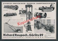 Reklame Maschinenfabrik Raupach Ziegelei Keramik Bauwesen Görlitz Sachsen 1939