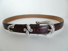 Coldwater Creek Leather Brown Aligator Style Size L Belt w Designer Buckle & Tip