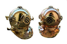 X-Mas Combo Offer Usn Mark V Solid Copper & Brass Diving Divers Helmet 2 Pcs