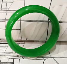 Round Natural Green Translucent Jade Bangle Jadeite 61 mm.