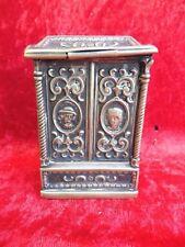 schöne,antike Spardose__Messing versilbert__um 19tes Jahrhundert__mit Ornamentik
