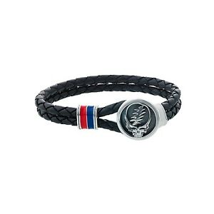 Grateful Dead Sterling Silver, Blue and Red Enamel & Leather Bracelet - Size 7.5