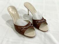 GUCCI logo open toe sandals kitten heels leather mules horsebit womens Euro 37-1