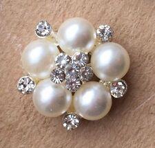 6 x Pearl DIAMANTE CRYSTAL Flat Back EMBELLISHMENT/WEDDING INVITES DIY CRAFT