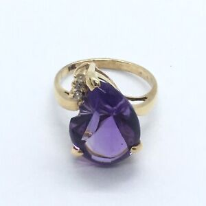 10k Yellow Gold Fantasy Fancy Faceted Amethyst and Diamond Ring