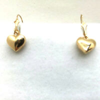 14K Yellow Solid Gold Leverback with hearts Earrings