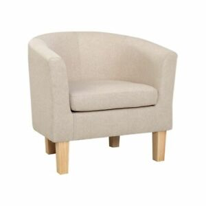 Artiss Armchair Lounge Chair Tub Accent Armchairs Fabric Sofa Chairs Beige NEW