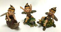 Bumble Fairies Bee Yellow Black Wings 3 Assort  Resin Figurine Frog Snail Turtle
