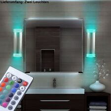 Design 2er Set RGB LED Wandleuchte Alu Lampen ØxHxT 6x21x9 cm Farbwechsel bunt