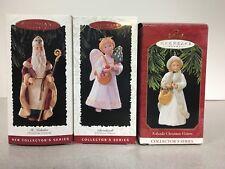 """Hallmark Ornaments Complete Series Set of 3 """"Christmas Vistors"""" 1995-1997 Mib"""