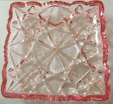 Cranberry Flash Vintage Depression Glass Divided Relish / Candy Dish-Fancy Edges