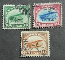 USA 1918 Airmail, 3 stamps, Mi #248-250, used, CV=110EUR