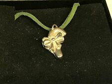 """Candy Cane TG198 English Pewter On 18"""" Green Cord Necklace"""