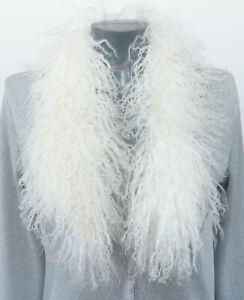 Scarf Fur Tibet Lamb Lambskin fur Coat Boho Trim Bridal Jewelry White Ivory