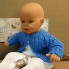 Pattern Baby Blue Cardigan, Hand Knitted Blue Jumper, Toddler Wool Jackets