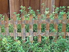 "Miniature Dollhouse FAIRY GARDEN ~ Rusty Mini 2¾"" Folding Picket Fence ~ NEW"