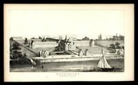 Blackwell Island New York work house prison 1851 small litho view print