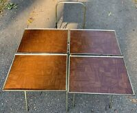 Vintage TV Trays Faux Wood Metal Stand Danish Mid Century Modern Set Of 4