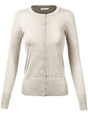 Womens Long Sleeve Button Down Crew Neck Hacci Cardigan Sweater-N8383(SIze:S-3X)