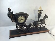 VINTAGE CLOCK HORSE AND COACH WITH MOVABLE WHIP ARM