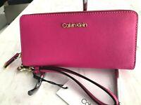 Calvin Klein Saffiano Leather Continental Zip Around Wallet Wristlet Pink $98
