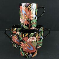 Set of 4 VTG Mugs Fitz and Floyd Kashmir Floral Cloisonne Black Japan