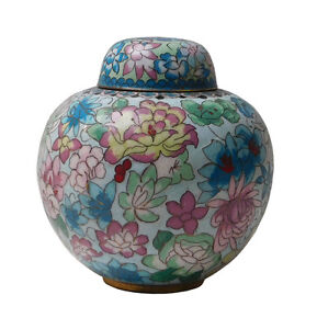 Chinese Thin Metal Blue Enamel Cloisonne Round Urn Container cs2162