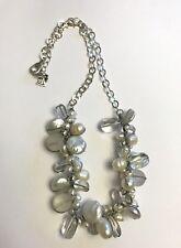 Silpada Chunky Glass Pearl Quartz Silver Bead Necklace N2189 Effervescense
