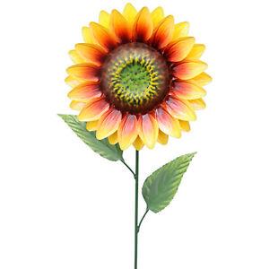 Primus Metal Flower Stake Sunflower Garden Ornament Hand Painted 83cm UK SELLER