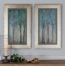 "TWO 35"" AGED FRAMES WHISPERING WIND OIL REPRODUCTIONS TREE PAINTINGS WALL ART"