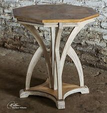 Aged White Carved Wood Accent Table | Contemporary Modern
