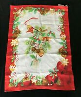 Christmas Tea Towel Sur La Table 100% Linen Made in Italy Green and Red