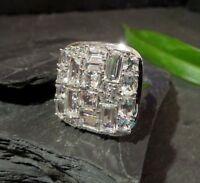 Gigantischer 925 Sterling Silber Ring MDI Baguette Kubus Quadrat Modern Designer