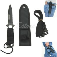 Outdoor Survival Stainless Steel Scuba Fixed Blade Knife Serrated Dagger Black