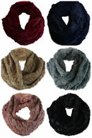 Ladies Womens Faux Fur Snood Scarf Soft Sunggly Pink Grey black Brown Sparkle