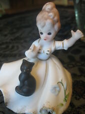 RARE BISQUE FIGURINE LADY YOUNG WOMAN W/ BLACK CAT ON DRESS NAPCO LEFTON JOSEF??