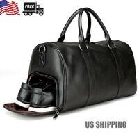 US Mens Leather Gym Duffel Shoulder Bag Travel Overnight Luggage Large Handbag