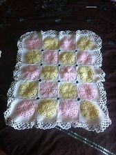 """Hand made baby girl Pram blanket, pink/lemon/white 24""""x20"""" / 61x51cm Handmade"""